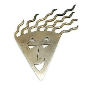 Sterling Silver Happy Face Brooch Unusual
